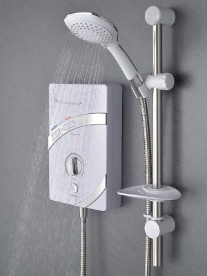 SPECIAL OFFER MX GROUP THERMO RESPONSE QI CHROME & WHITE 9.5KW ELECTRIC SHOWER, GCV