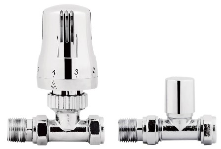 KIRBY SEBASTIAN CHROME THERMOSTATIC STRAIGHT RADIATOR VALVES, VAL07S