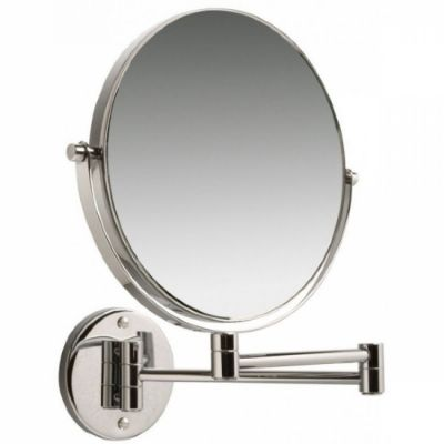 CLEARANCE MILLER BEEM CHROME BATHROOM REVERSIBLE 3x MAGNIFYING ROUND WALL MOUNTED SWIVEL MIRROR, 27201C