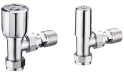 FRANCIS PEGLER TERRIER WHEELHEAD CHROME ANGLED RADIATOR VALVE & LOCKSHIELD PACK, 601200