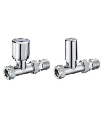 FRANCIS PEGLER TERRIER WHEELHEAD CHROME STRAIGHT RADIATOR VALVE & LOCKSHIELD PACK, 602200