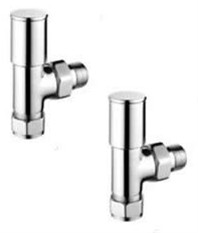 FRANCIS PEGLER TERRIER CHROME MODERN ANGLE DECORATIVE RADIATOR VALVE PACK, 632304