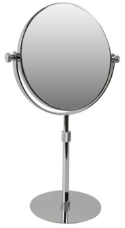 CLEARANCE MILLER CLASSIC CHROME BATHROOM 3x MAGNIFYING ROUND ADJUSTABLE HEIGHT FREESTANDING BEVELLED MIRROR, 8786C