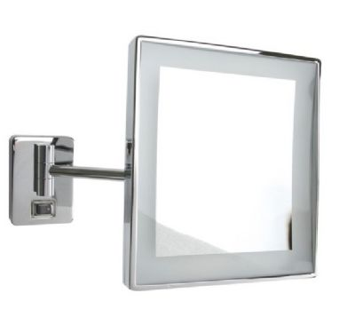 MILLER CLASSIC CHROME BATHROOM SOFT WHITE SQUARE IP44 LED ILLUMINATED 3x MAGNIFYING WALL MOUNTED SWIVEL MIRROR, 8788C