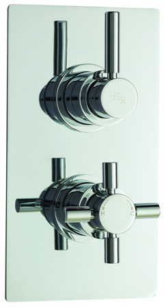 HUDSON REED TEC PURA CHROME THERMOSTATIC TWIN CONCEALED SHOWER VALVE with DIVERTER, A3007