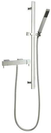 HUDSON REED MINIMALIST QUADRO CHROME EXPOSED THERMOSTATIC BAR SHOWER VALVE & SHEER RECTANGULAR SLIDE RAIL KIT, A3503/A3167