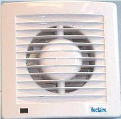 VECTAIRE 'AS' WHITE HUMIDISTAT, TIMER, NEON 12cm BATHROOM/KITCHEN SLIMLINE AXIAL EXTRACTOR FAN, AS12HT
