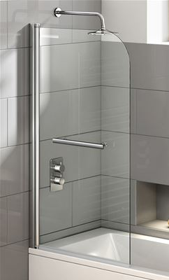 KIRBY SEBASTIAN EASY CLEAN CHROME SINGLE CURVED TOP STRAIGHT BATH SCREEN & RAIL, BH0800R