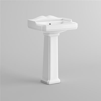 KIRBY SEBASTIAN VICTORIA WHITE CERAMIC TRADITIONAL CERAMIC 58cm 1 TAPHOLE BASIN & FULL PEDESTAL, CB629FB1