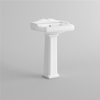 KIRBY SEBASTIAN VICTORIA WHITE CERAMIC TRADITIONAL CERAMIC 58cm 1 TAPHOLE BASIN & FULL PEDESTAL, CB629FB2
