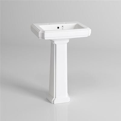 KIRBY SEBASTIAN GEORGIA II WHITE CERAMIC TRADITIONAL CERAMIC 57cm 2 TAPHOLE BASIN & FULL PEDESTAL, CBG6292H