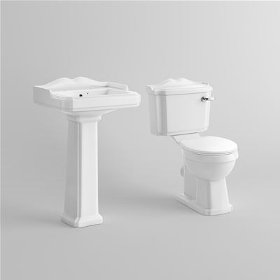 KIRBY SEBASTIAN VICTORIA WHITE CERAMIC 58cm 2TH BASIN, PEDESTAL, CLOSE COUPLED WC PAN, CISTERN & TOILET SEAT (4 PIECE PACKAGE DEAL), CS629B