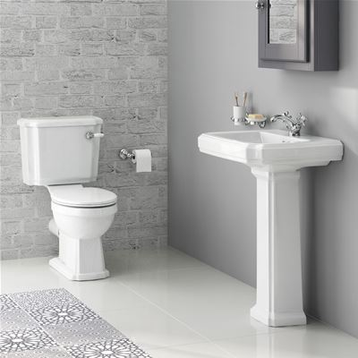 KIRBY SEBASTIAN GEORGIA II WHITE CERAMIC 57cm 1TH BASIN, PEDESTAL, CLOSE COUPLED WC PAN, CISTERN & SOFT CLOSE SEAT (4 PIECE PACKAGE DEAL), CSG629W1H