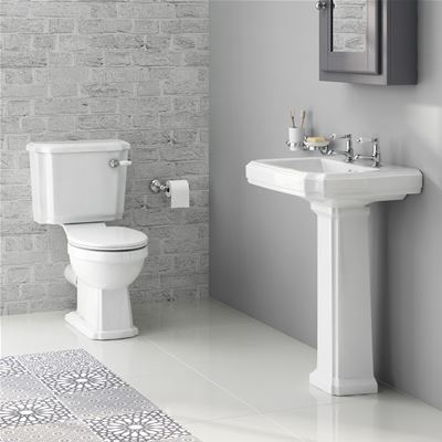 KIRBY SEBASTIAN GEORGIA II WHITE CERAMIC 57cm 2TH BASIN, PEDESTAL, CLOSE COUPLED WC PAN, CISTERN & SOFT CLOSE SEAT (4 PIECE PACKAGE DEAL), CSG629W2H