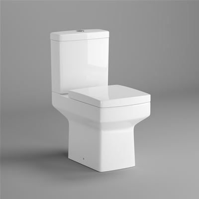 KIRBY SEBASTIAN BELFORT WHITE CERAMIC BACK TO WALL CLOSE COUPLED WC (PAN, CISTERN & LUXURY SOFT CLOSE SEAT), CT612CCT