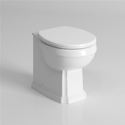KIRBY SEBASTIAN VICTORIA II WHITE CERAMIC TRADITIONAL BACK TO WALL (PAN & WHITE TOILET SEAT), CT629CCT