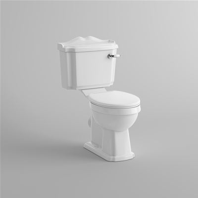 KIRBY SEBASTIAN VICTORIA WHITE CERAMIC TRADITIONAL CLOSE COUPLED WC (PAN, CISTERN & WHITE TOILET SEAT), CT629CCT