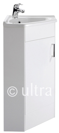 ULTRA PREMIER DESIGN FURNITURE HIGH GLOSS WHITE FLOOR MOUNTED CORNER 55cm VANITY UNIT with WHITE CERAMIC BASIN, CU001