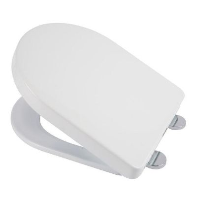 CLEARANCE CROYDEX EYRE FLEXI FIX WHITE 'D' SHAPED SOFT CLOSE TOILET SEAT, WL601522H