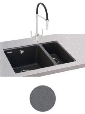 CARRON PHOENIX FIJI 150-16 UNDERMOUNTED STONE GREY GRANITE SINK, 150-16