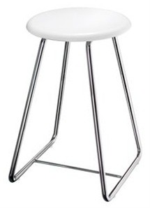 SMEDBO OUTLINE WHITE & POLISHED STAINLESS STEEL BATHROOM SHOWER STOOL, FK403