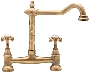 TRE MERCATI KITCHEN FRENCH CLASSIC ANTIQUE BRASS TRADITIONAL CROSS 'X' HEAD BRIDGE SINK MIXER TAP, 187