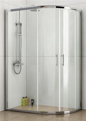 KIRBY SEBASTIAN BARCELONA POLISHED ALUMINIUM 2 SLIDING DOOR 1200mm x 800mm OFFSET QUADRANT SHOWER CUBICLE, GQB1280