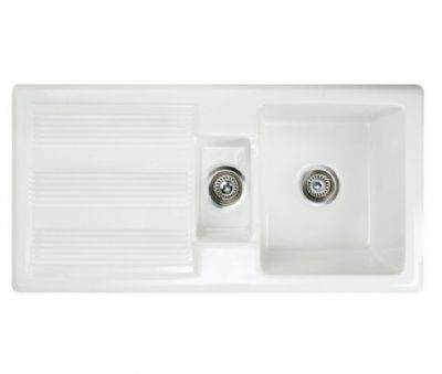 RAK GOURMET SINK 1 MKII - INSET WHITE 1.5 BOWL CERAMIC SINK with REVERSIBLE DRAINER, GOSINK1V2