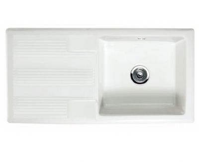 RAK GOURMET SINK 4 - INSET WHITE SINGLE BOWL SINGLE DRAINER CERAMIC SINK with REVERSIBLE DRAINER, GOSINK4V2