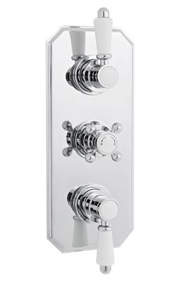 CLEARANCE ULTRA TRADITIONAL CHROME THERMOSTATIC TRIPLE CONCEALED SHOWER VALVE with 2 WAY DIVERTER, ITY317