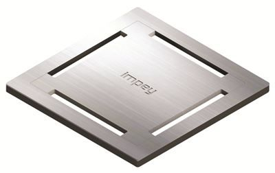 IMPEY AQUA-DEC EASY FIT 'STAMP' BRUSHED STAINLESS STEEL GRATE 'GRATE ONLY', QUAD/WJ/05/SS