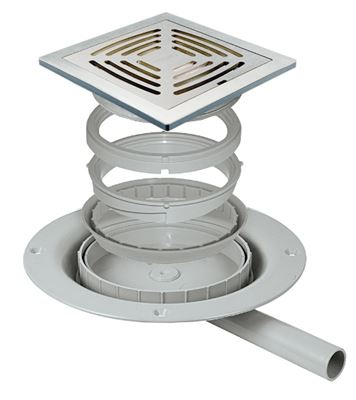 IMPEY AQUA-DEC EASY FIT 'SLOT' BRUSHED STAINLESS STEEL TILED FLOOR GULLY for PUMPED WASTE, DSS2