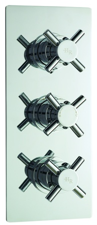 HUDSON REED KRISTAL CHROME THERMOSTATIC TRIPLE CONCEALED SHOWER VALVE, KRI3211