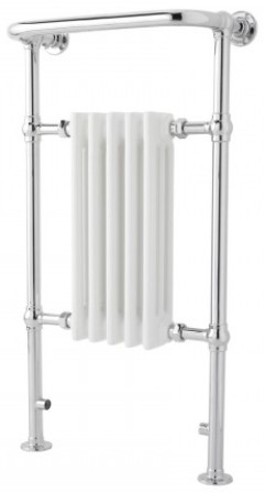 HUDSON REED SMALL HARROW CHROME & WHITE BATHROOM TRADITIONAL TOWEL WARMER, HTD06