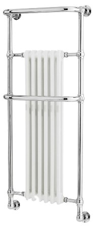 HUDSON REED BRAMPTON CHROME & WHITE BATHROOM WALL MOUNTED TRADITIONAL TOWEL WARMER, LDR010