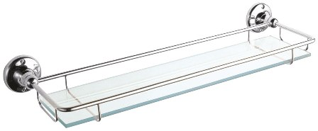 images/ULTRA CHROME BATHROOM TRADITIONAL 47cm CLEAR GLASS SHELF with GUARD/GALLERY RAIL, LH305