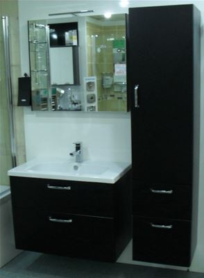 MILLER FROM SWEDEN NEW YORK BLACK VANITY UNIT, TALL UNIT & MIRROR DISPLAY