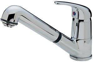 TRE MERCATI KITCHEN MODENA STANDARD CHROME LEVER MONO RINSE SINK MIXER TAP with RETRACTABLE SPOUT, 173