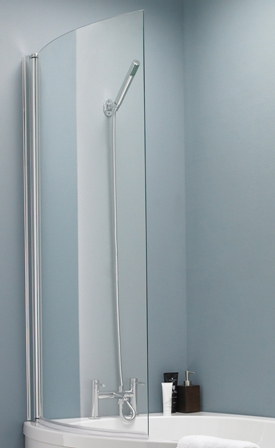 ULTRA PREMIER BATHROOM COLLECTION POLISHED CHROME CURVED BATH SCREEN for 'P' BATHS, NBBS1