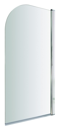 ULTRA PREMIER BATHROOM COLLECTION POLISHED CHROME SINGLE CURVED TOP STRAIGHT BATH SCREEN, NSS1
