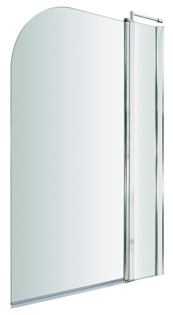 ULTRA PREMIER BATHROOM COLLECTION POLISHED CHROME SINGLE CURVED TOP STRAIGHT BATH SCREEN with FIXED PANEL, NSS2
