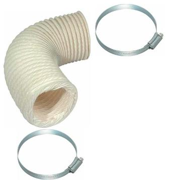 HAFELE 120mm x 1m PVC FLEXIBLE DUCTING ROUND HOSE & 2 METAL CLAMPS/CLIPS, 10251/1110