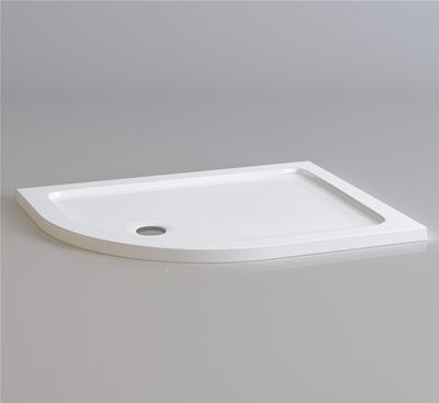 KIRBY SEBASTIAN STONE RESIN 1000mm x 800mm x 35mm L/H OFFSET QUADRANT SHOWER TRAY, QL1008L