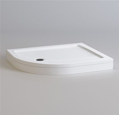 KIRBY SEBASTIAN STONE RESIN 1000mm x 800mm L/H OFFSET QUADRANT SHOWER TRAY with LEG & PANEL SET, QL1008SET