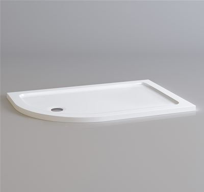KIRBY SEBASTIAN STONE RESIN 1200mm x 800mm x 35mm L/H OFFSET QUADRANT SHOWER TRAY, QL1208L