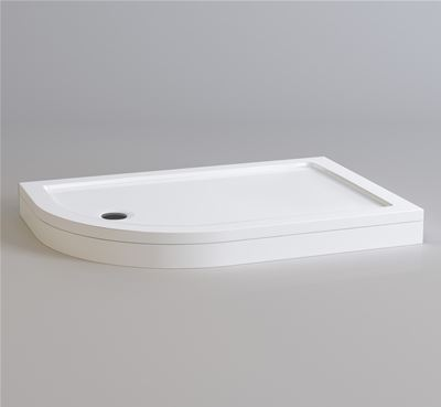 KIRBY SEBASTIAN STONE RESIN 1200mm x 800mm L/H OFFSET QUADRANT SHOWER TRAY with LEG & PANEL SET, QL1208SET