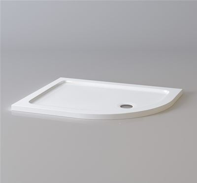 KIRBY SEBASTIAN STONE RESIN 1000mm x 800mm x 35mm R/H OFFSET QUADRANT SHOWER TRAY, QR1008L