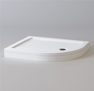 KIRBY SEBASTIAN STONE RESIN 1000mm x 800mm R/H OFFSET QUADRANT SHOWER TRAY with LEG & PANEL SET, QR1008SET