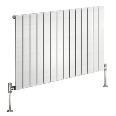 CLEARANCE REINA FLAT SINGLE PANEL WHITE HORIZONTAL DESIGNER RADIATOR H600 x W440, RND-FL06W