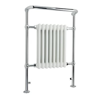 KIRBY SEBASTIAN VICTORIA PREMIUM LARGE CHROME & WHITE BATHROOM TRADITIONAL TOWEL RAIL/WARMER, RT02